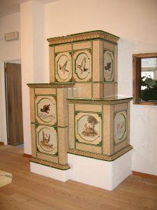 Quadra stufa in maiolica vecchia maniera colorata 001